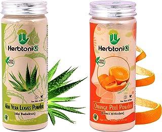 HerbtoniQ 100% Natural Aloevera Leaves Powder (Aloe Barbadensis) 150g And Orange Peel Powder (Citrus Reticulate) 150g For ...