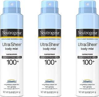 Neutrogena Ultra Sheer Body Mist Sunscreen Spray Broad Spectrum SPF 100+, Lightweight, Non-Greasy & Water Resistant, Oil-F...