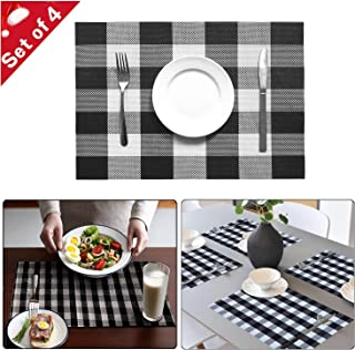 Onene Set of 4 Black and White Buffalo Plaid Check Placemats Heat Resistant and Washable Kitchen Tablemats for Dining Table