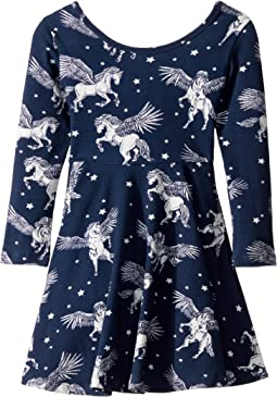 Pegasus Long Sleeve Mabel Dress (Toddler/Little Kids/Big Kids)
