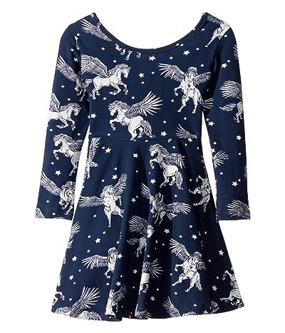 Rock Your Baby Pegasus Long Sleeve Mabel Dress (Toddler/Little Kids/Big Kids) (Navy) Girl