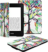 OMOTON Kindle Paperwhite Case Cover - The Thinnest Lightest PU Leather Smart Cover Kindle Paperwhite fits All Paperwhite Generations Prior to 2018 (Will not fit All New Paperwhite 10th Gen),Love Tree