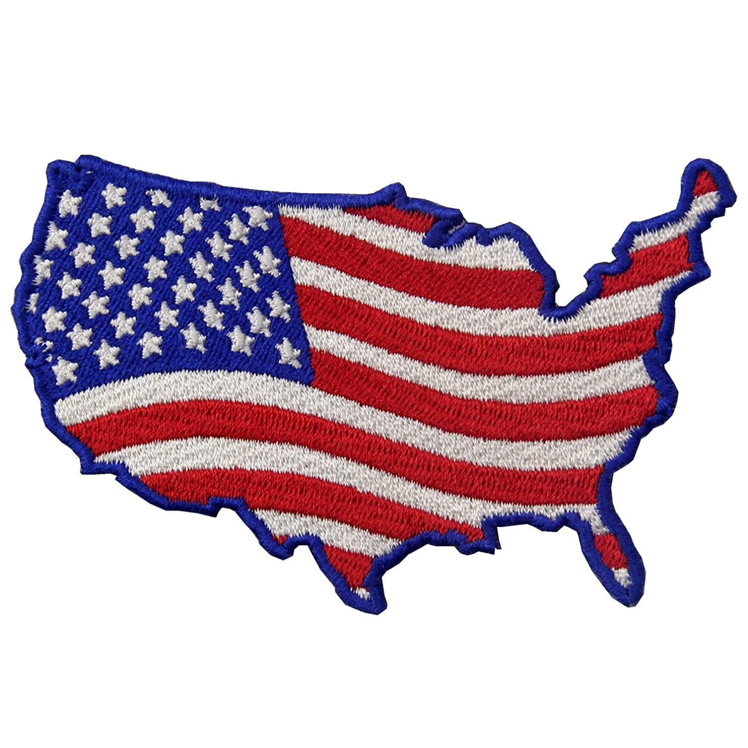 EmbTao USA Map Shape American Flag Embroidered Iron On Sew On Patch