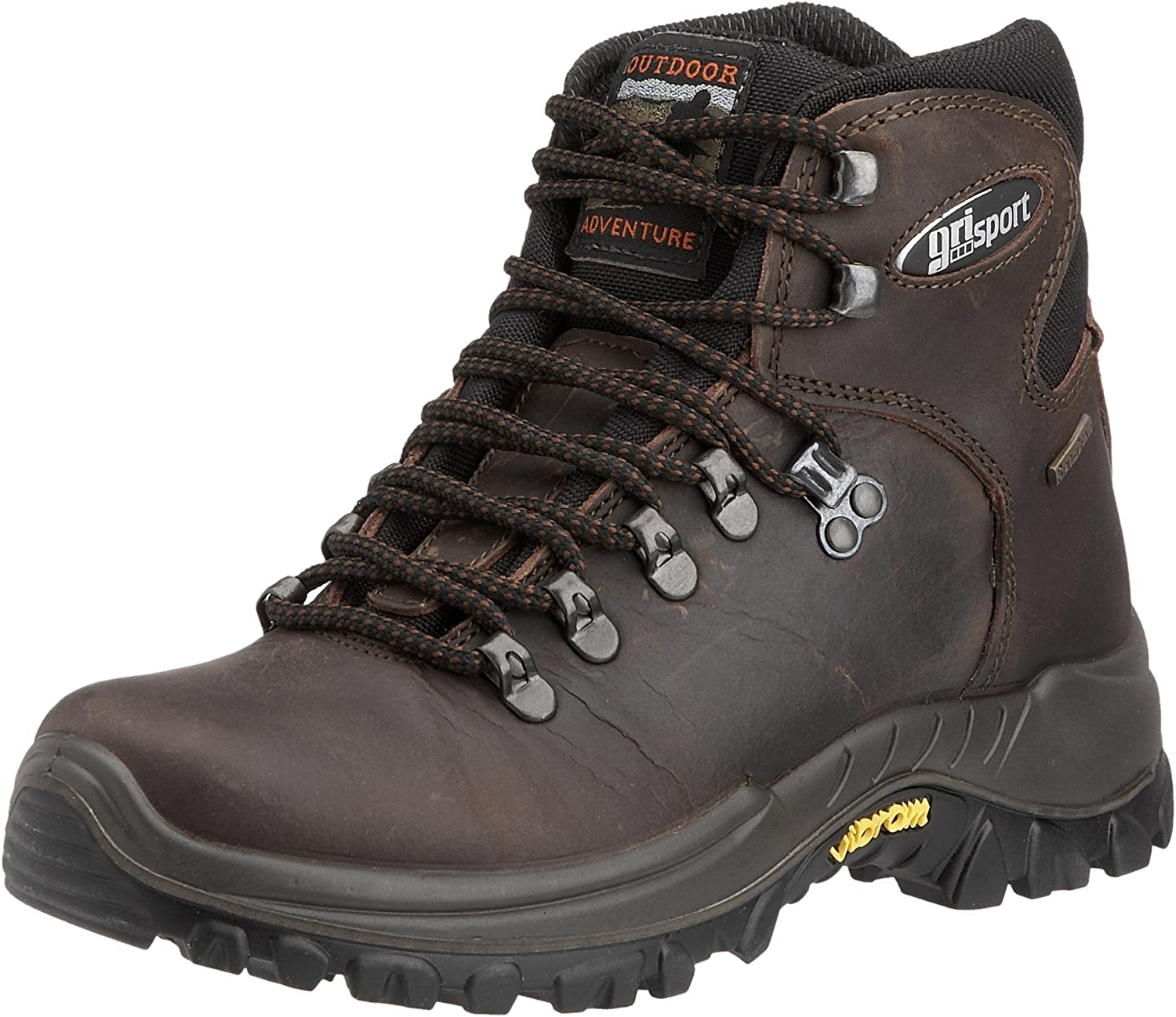 greyport Everest Italian Hiking Boot, Waterproof and Breathable with Vibram Sole Brown