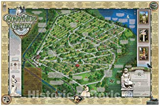 Historic Pictoric Map : Bonaventure Cemetery, Savannah Georgia 2016, Bonaventure Cemetery Illustrated map : History, Monuments, Notable burials, Antique Vintage Reproduction : 66in x 44in