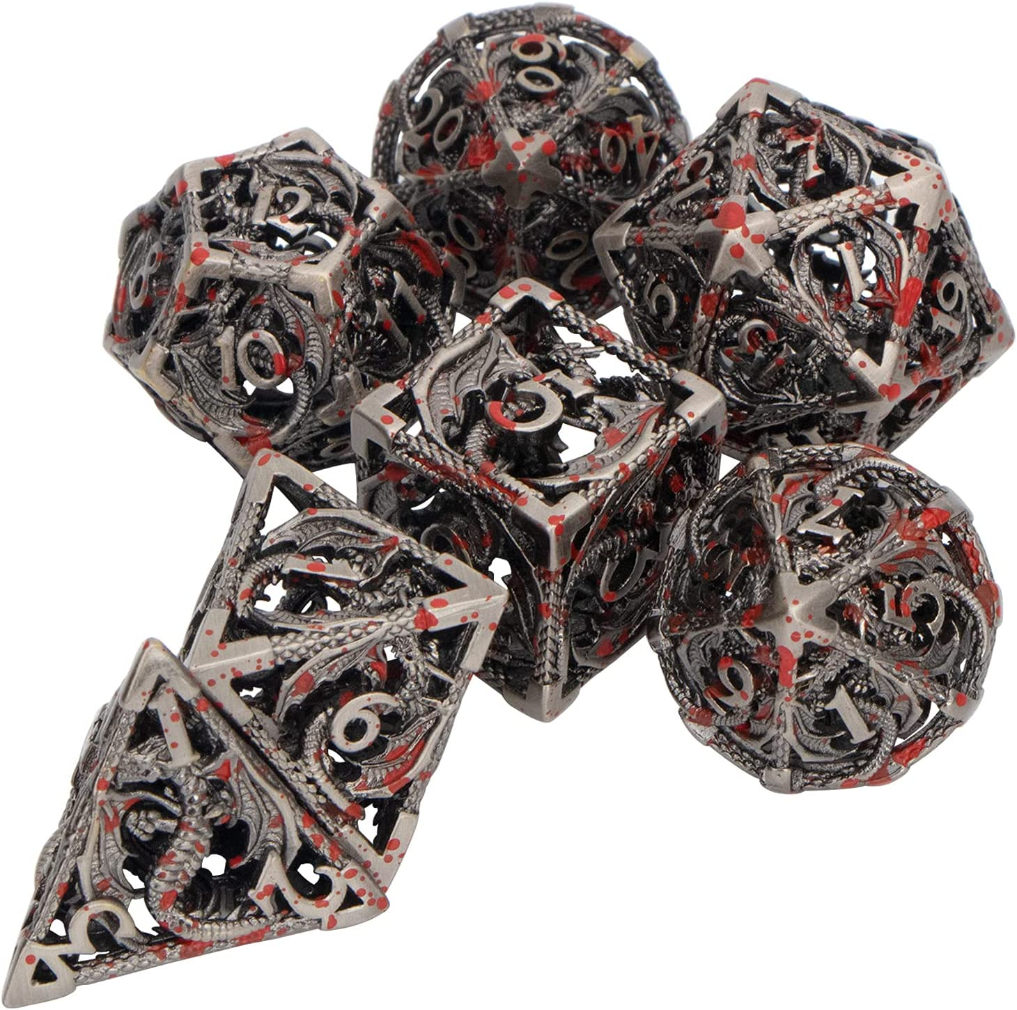 Metal DND Dice Set Max 70% OFF with Blood Dungeon Spattered Cheap SALE Start for Dragons and