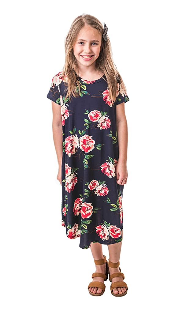 Chrome Classic Girls Midi Floral A-Line Dress Made in The USA