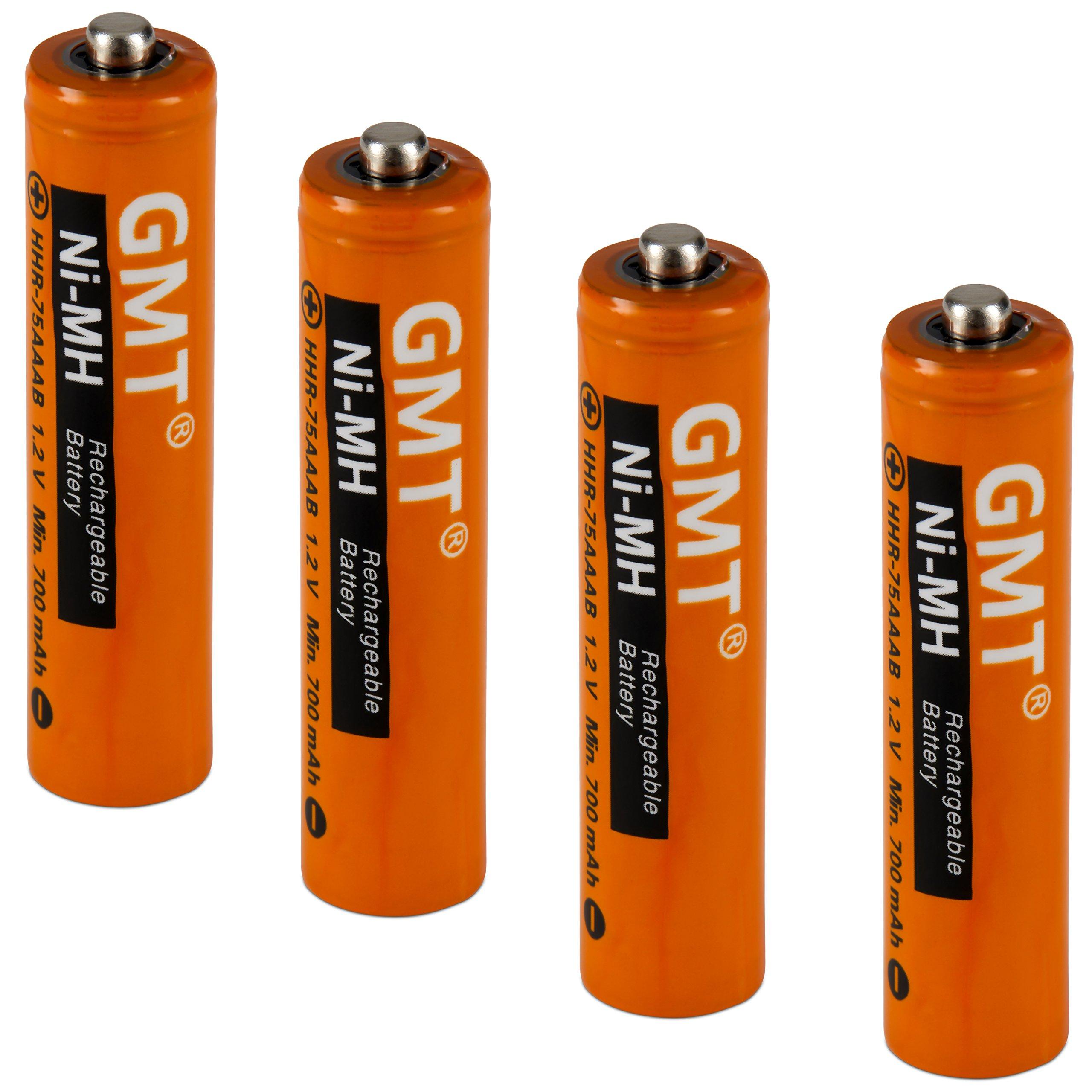 GMT Panasonic - Pilas inalámbricas para teléfono NI-MH recargables AAA de 750 mAh de potencia extra (