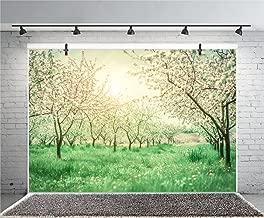 Leyiyi 7x5ft Photography Background Peach Flower Blossom Backdrop Spring Countryside Row Apple Trees Agriculture Fruit Plantation Family Activity Bokeh Garden Birthday Photo Portrait Vinyl Studio Prop