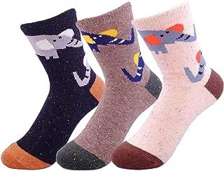 JOYCA & Co. 3 Pairs Womens Socks Cute Animal Cat Elephant Fox Wolf Deer Owl Soft Wool Cotton Warm Socks