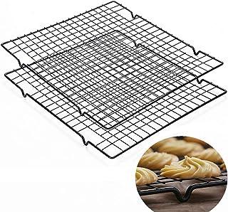 TheStriven 2 Stück Kuchengitter Abkühlgitter Backgitter aus Edelstahl Kuchen Kühlregal Kuchengitter Küchengitter Kuchen Auskühlen Antihaft Grillen Auskühlen Passt für Keksen und Kuchen Auskühlen