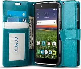 J&D Case Compatible for Alcatel Idol 4 Case, [Wallet Stand] [Slim Fit] Heavy Duty Protective Shock Resistant Flip Cover Wallet Case for Alcatel Idol 4 Wallet Case - Aqua