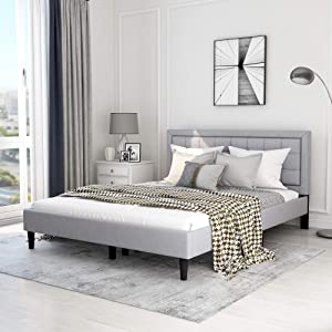 Upholstered Linen Platform Bed Frame Queen Size with Headboard and Footboard/ Mattress Foundation / Wood Slat Support / No Box Spring Needed,Light Grey