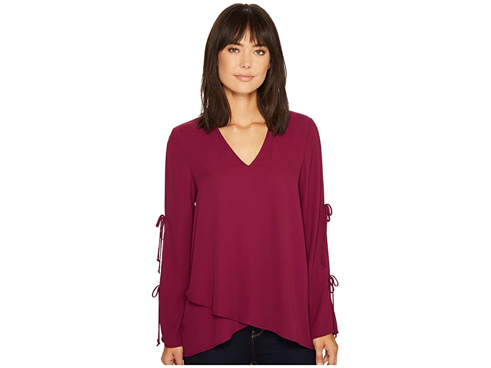 Karen Kane Double Tie Wrap Top (Berry) Women