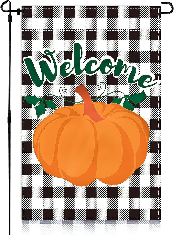 GEKUPEM Fall Pumpkin Garden Flag 12x18 Inch Autumn Black White Buffalo Check Double Sided Vertical Welcome Yard Flag Farmhouse Outdoor Farmland Burlap Lawn Halloween Thanksgiving Decor