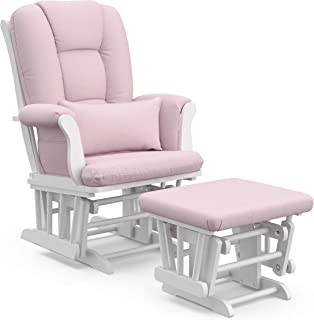 Storkcraft Tuscany Custom Glider and Ottoman with Free Lumbar Pillow, White/Pink Blush Swirl