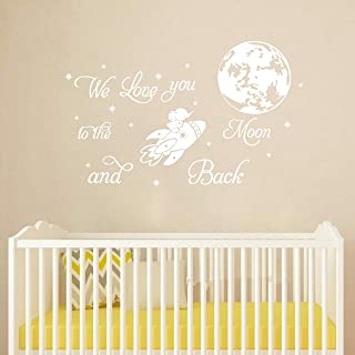 We Love You to The Moon and Back Wall Stickers Sparkly Stars and Moon Wall Decal Nursery Vinyl Wall Decor for Rocket with ...