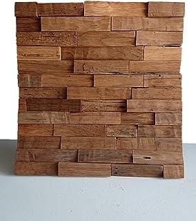 ウッドパネル 3D チーク古材 天然木 無垢材 パネルシート ウォールパネル 壁板 木製パネル 壁 壁面 模様替え DIY 50㎝×50㎝【ワールドデコズ】