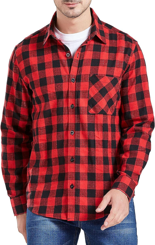 Men's Plaid Flannel Shirts, Button Down Casual Shirts Long Sleeve Check Shirt for Men