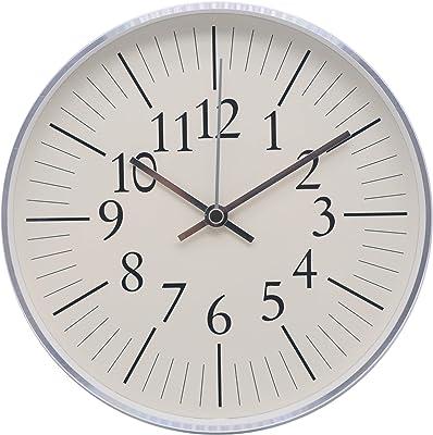 Comodo Casa Wall Clock- Metal Silver Frame-Glass Cover-Non Ticking-Quartz Sweep-Silent 7.6 inch Retro Clock,Beige (Model B)