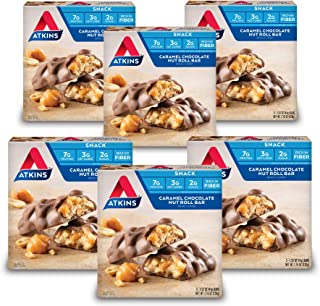 Atkins Snack Bar, Caramel Chocolate Nut Roll, Keto Friendly, 30 Count (Pack of 6)
