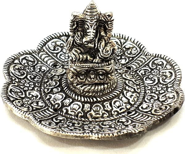 Yapree Handmade Silver Tone White Metal Incense Holder Burner With Ganesh Statue 3 5 ROUND CSM34
