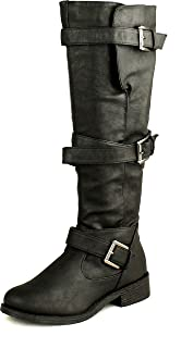 BAMBOO Womens Jagger-06A Strappy Knee High Zip Up Riding Faux Wooden Thick Heel Boots,Black,6