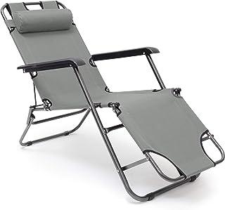 Relaxdays Liegestuhl Tumbona Plegable con cojín y reposabrazos, para jardín, balcón, Camping, 3 Posiciones, Color Antracita