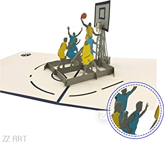 Basketball 3D PopUp greeting card, cool Sports Pop Up Card, NBA greeting card for boy's Birthday, Valentine's Day, friendship, family affection, Father's day, Anniversary, Birthday invitations