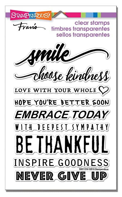Stampendous SSC1316 Smile Sentiments Perfectly Clear Stamp Set,