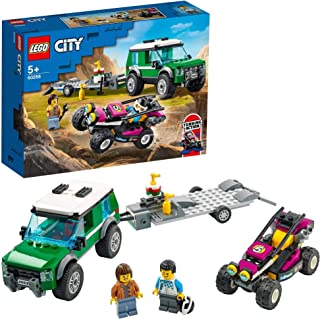 LEGO 60288 City Great Vehicles Race Buggy Transporter Toy Truck with Trailer and Steerable Baja Race Car
