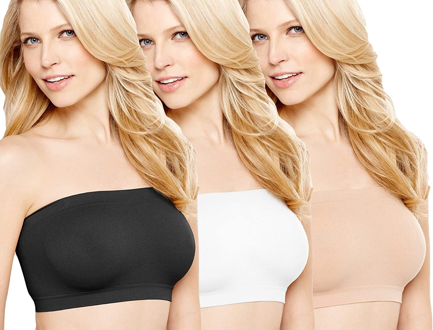 ToBeInStyle Women's Seamless Microfiber Bandeau Strapless Tube Top Bras Wire Free No Pad