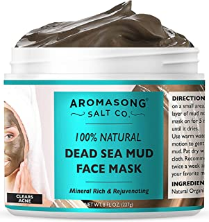 100% PURE & Natural Dead Sea Mud Mask NO INGREDIENTS ADDED, 5 Minute mask - Acne Treatment, Blackhead Remover, Anti-Aging,...