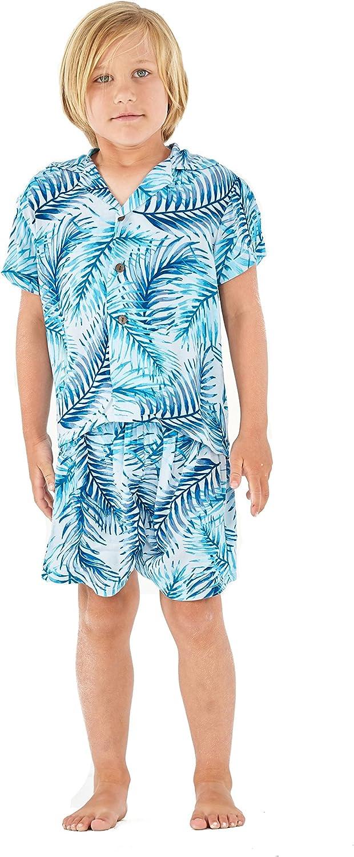 Hawaii Hangover Boy Aloha Luau Shirt Cabana Set in Simply Blue Palms
