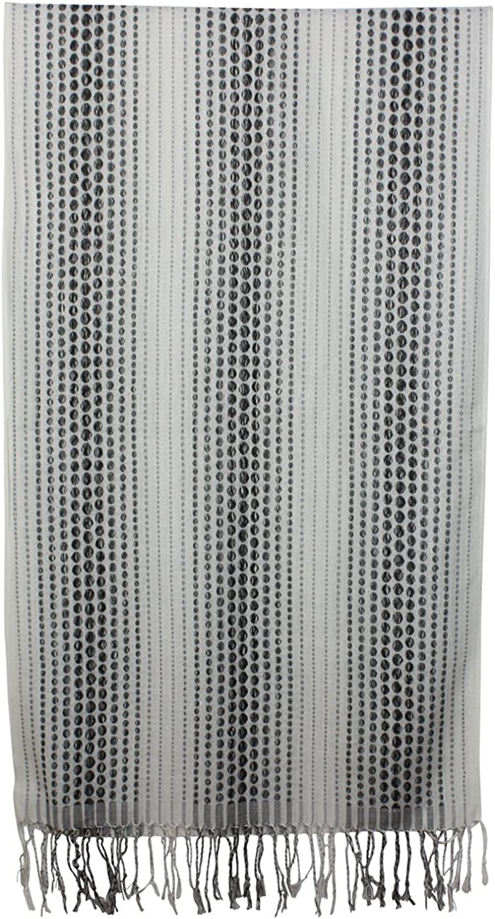 Dahlia Mens Scarf - Jacquard, Dotted Stripe Pattern, Long & Stylish