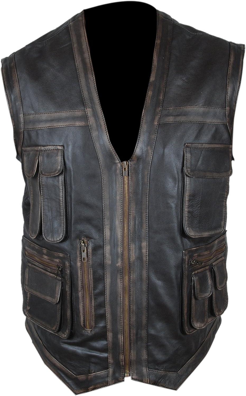 Flesh & Hide F&H Men's Distressed Genuine Leather Jurassic World Chris Pratt Owen Grady Vest