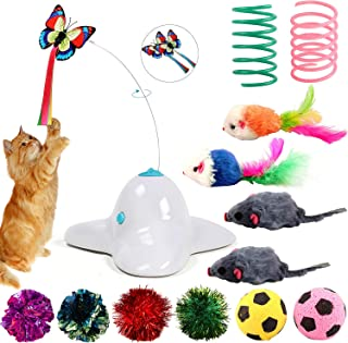 Bascolor Butterfly Cat Toys Electric Rotating 2PCS Flashing Butterfly Cat Toy with 12PCS Mouse Spring Football Accessories Interactive Funny Cat Teaser Toy