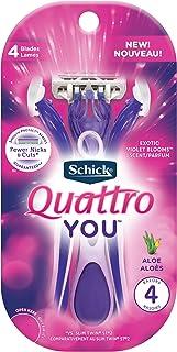 Schick Quattro You Exotic Violet Blooms Disposable Razor for Women, 4count (W300640400)