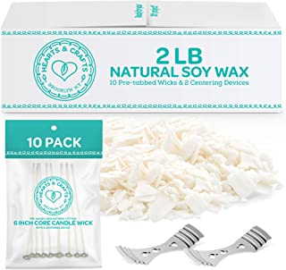 Hearts & Crafts Soy Wax and Candle Making Supplies - 2-lb. Soy Wax Flakes with 10 Pre-Waxed Wicks, 2 Centering Devices – C...