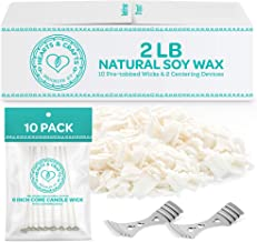 Hearts & Crafts Soy Wax and Candle Making Supplies - 2-lb. Soy Wax Flakes with 10 Pre-Waxed Wicks, 2 Centering Devices – CandleMaking Kit for DIY Enthusiasts, Creative Hobby for Adults