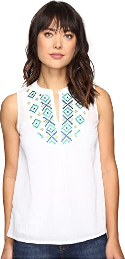 Gauze Embroidered Sleeveless Bib Tunic