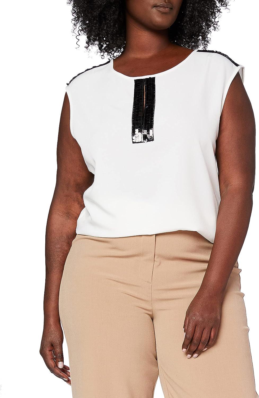 Gina Bacconi Sequin Trim Crepe Camiseta sin Mangas, Blanco ...