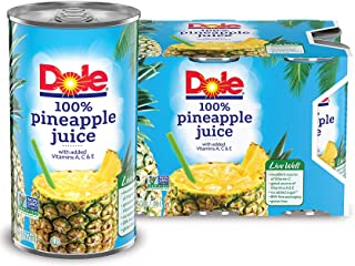 Dole 100% Pineapple Juice, 6 Fl Oz (pack of 6)