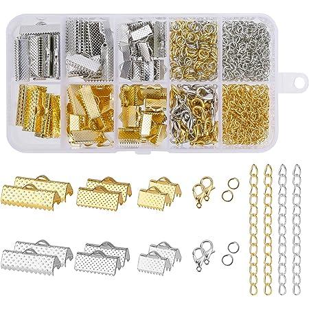 Kit d'accessoires de Bijoux Fabriqués à la Main, avec Anneaux Ouverts, Embouts de Cordon, Pinces à Ruban pour Collier Bracelet Boucle d'Oreille Fabrication Bricolage Accessoires Kit (370 Pièces)
