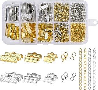 Kit d'accessoires de Bijoux Fabriqués à la Main, avec Anneaux Ouverts, Embouts de Cordon, Pinces à Ruban pour Collier Brac...