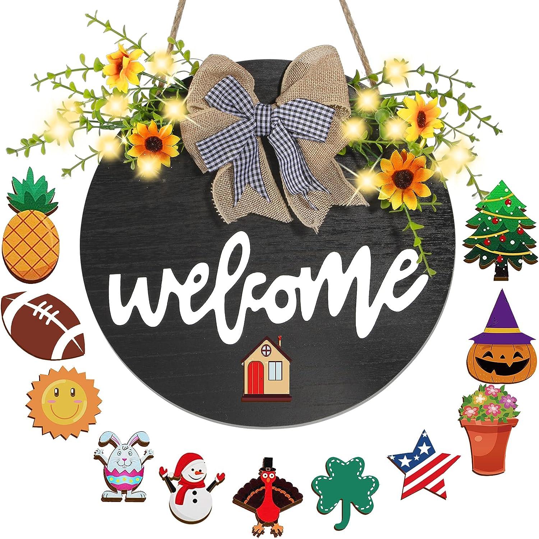 JYPS Interchangeable Welcome Sign with 10 LED Lights Welcome Door Sign Door Wreaths for Front Door Outside, Wooden Door Decor Seasonal Summer Door Wreath for Farmhouse Home Front Porch Decoration