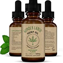 Wonder Earth Natural Raw Organic Pure Hemp oil - Light Peppermint Flavor - 1000mg - THC FREE - Pain and Anxiety Relief - Anti Inflammatory - Helps with sleep, controls stress - Grown in New Zealand