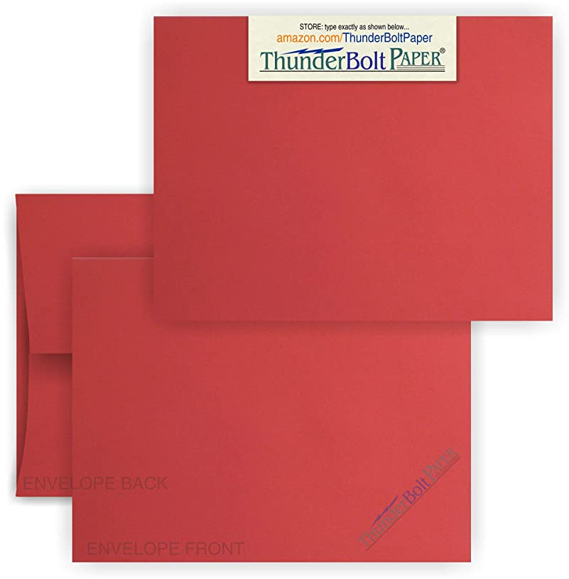 4X6 Blank Cards with A-6 Envelopes -Bright Apple Red - 50 Sets - White Labels for Envelopes - Matching Pack - Invitations, Greeting, Thank You, Notes, Holidays, Weddings, Birthdays, Announcements