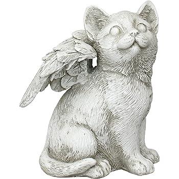 Design Toscano LY7154051 Loving Friend Cat Angel Pet Memorial Statue, Medium, Antique Stone Finish