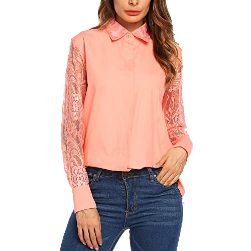 d326e176740e8 Zeagoo Women s Casual Long Sleeve Hollow Floral Lace Patchwork Button Down  Blouse Shirt Tops